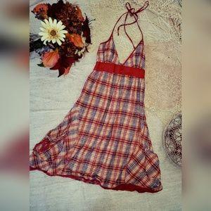 Billabong plaid halter dress